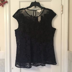 Anthro mesh and lace black and navy peplum blouse